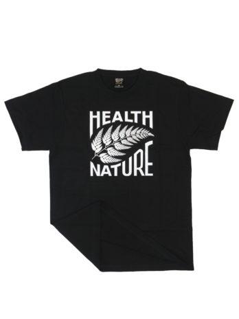 czarny tshirt z białym liściem