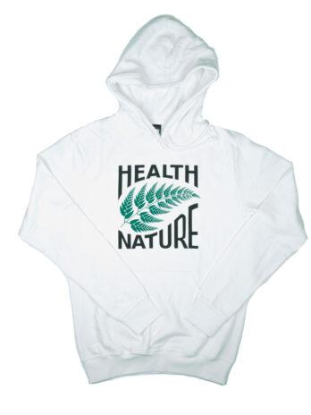 białe hoodie z zielonym liściem