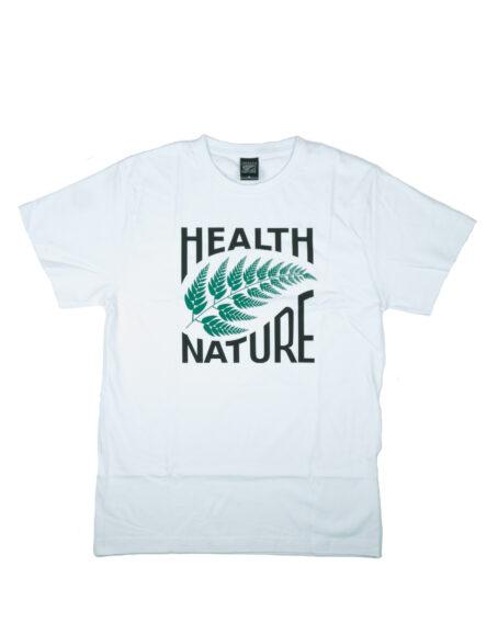 biały shirt hnn z zielonym liściem