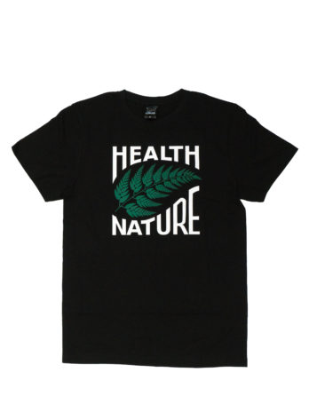 czarny tshirt z zielonym liściem