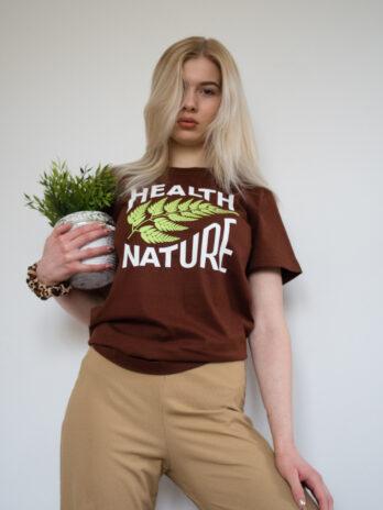 brązowy tshirt z zielonym liściem
